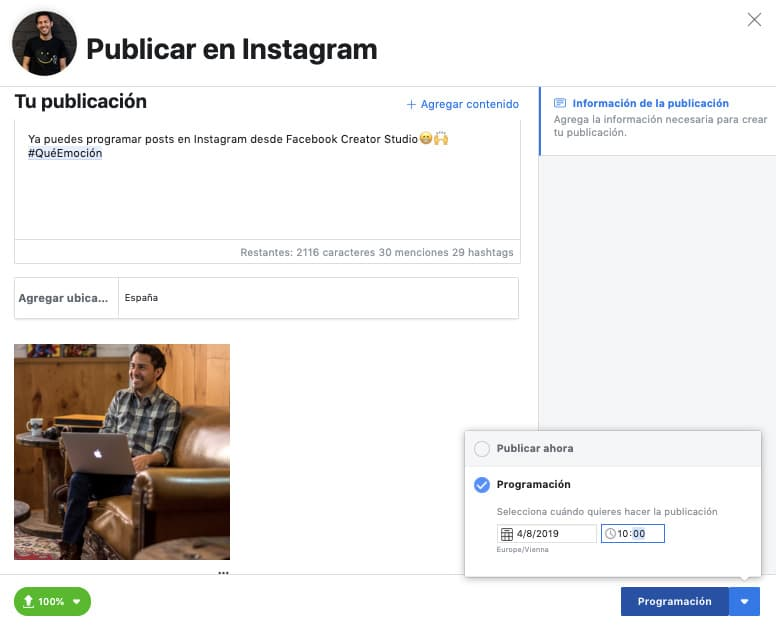 herramientas para programar instagram
