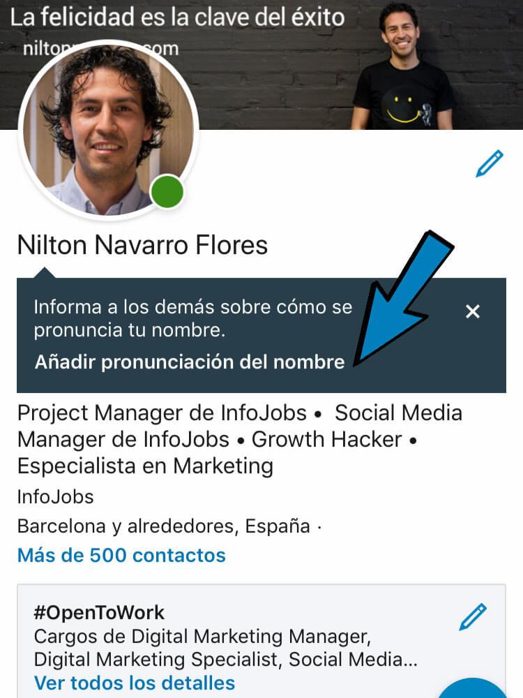 pronunciar tu nombre en tu perfil de LinkedIn