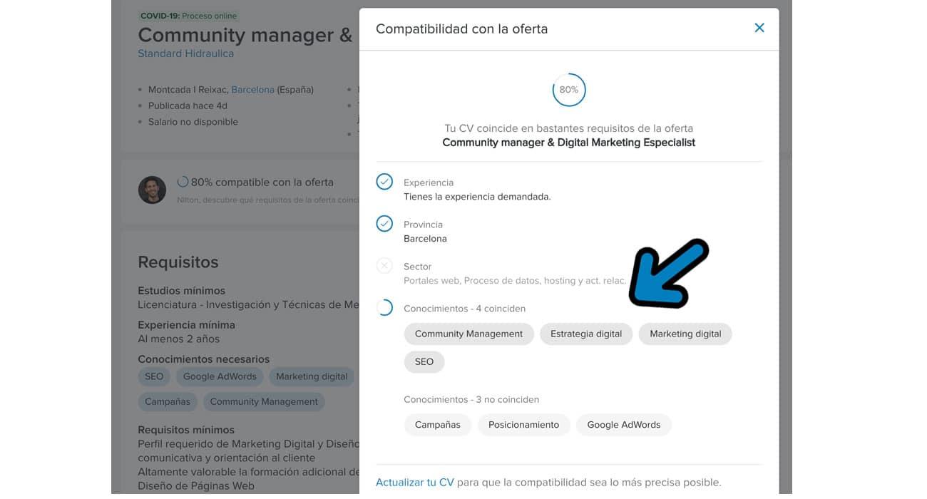 compatibilidad de CV con las ofertas de trabajo en infojobs